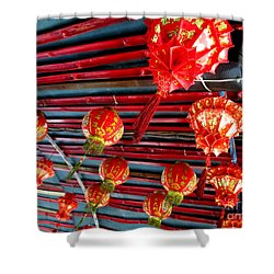 Shower Curtain featuring the photograph Red Lanterns 3 by Randall Weidner