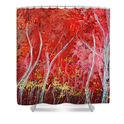 Crimson Leaves Shower Curtain