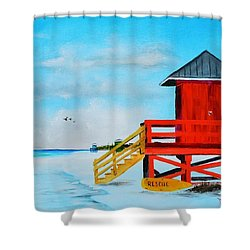 Red Life Guard Shack On The Key Shower Curtain