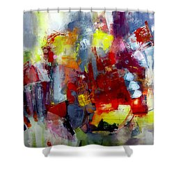 Shower Curtain featuring the painting Red Light by Katie Black