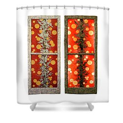 Red Light, White Line Shower Curtain