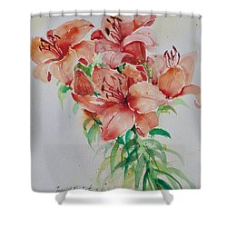 Red Lilies Shower Curtain by Alexandra Maria Ethlyn Cheshire