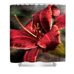 Red Lilly Shower Curtain