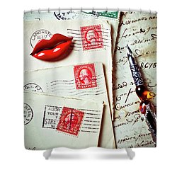 Red Lips Pin And Old Letters Shower Curtain by Garry Gay
