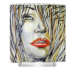 Red Lipstick 081208 Shower Curtain by Selena Boron