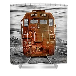 Red Locomotive Shower Curtain by James BO  Insogna