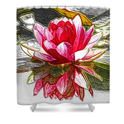 Red Lotus Flower Shower Curtain by Lanjee Chee