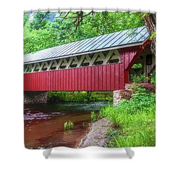 Red Mill Covered Bridge Shower Curtain by Trey Foerster