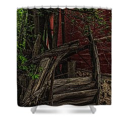 Red Mill Decayed Wheel Shower Curtain