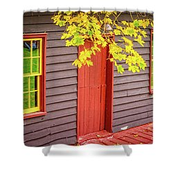 Red Mill Door In Fall Shower Curtain