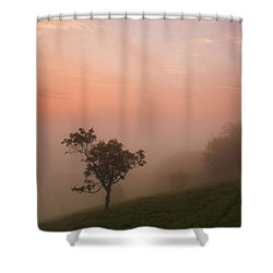 Red Mist On The South Downs Shower Curtain by Hazy Apple