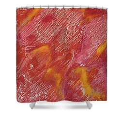 Red Monoprint One Shower Curtain
