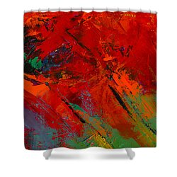 Shower Curtain featuring the painting Red Mood by Elise Palmigiani