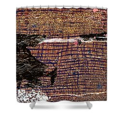 Shower Curtain featuring the painting Red Moon by Carolyn Repka