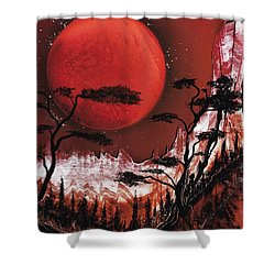 Shower Curtain featuring the painting Red Moon by Jason Girard