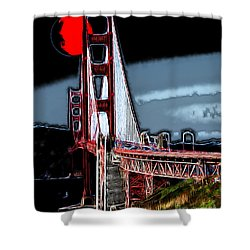 Red Moon Over The Golden Gate Bridge Shower Curtain by Wingsdomain Art and Photography