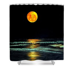 Red Moon Rising Shower Curtain