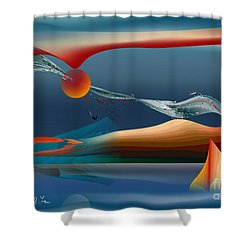 Red Moon Sign Shower Curtain