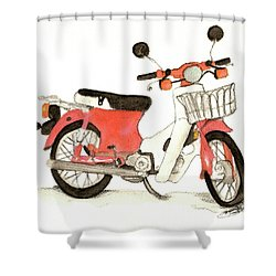 Red Motor Bike Shower Curtain