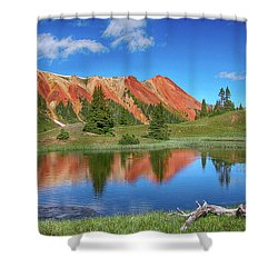 Red Mountain-grey Copper Gulch Shower Curtain