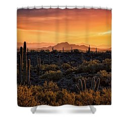 Shower Curtain featuring the photograph Red Mountain Sunset Part Two  by Saija Lehtonen