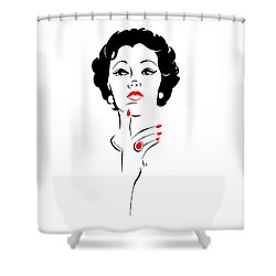 Shower Curtain featuring the digital art Red Nails Red Lips by Cindy Garber Iverson