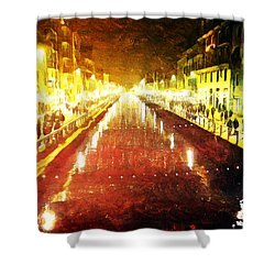 Red Naviglio Shower Curtain by Andrea Barbieri