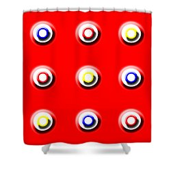 Red Nine Squared Shower Curtain