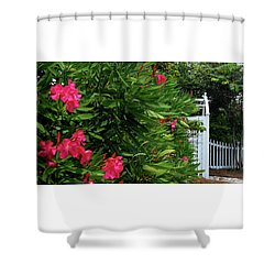 Shower Curtain featuring the photograph Red Oleander Arbor by Marie Hicks