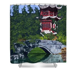 Shower Curtain featuring the painting Red Pagoda by Lynne Reichhart