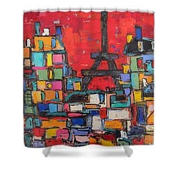 Red Paris Eiffel  Shower Curtain