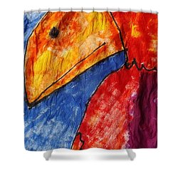 Red Parrot Shower Curtain by Don Koester