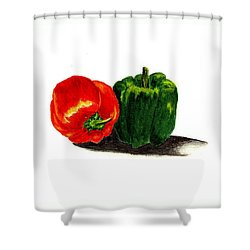 Red Pepper And Green Pepper Shower Curtain by Michael Vigliotti