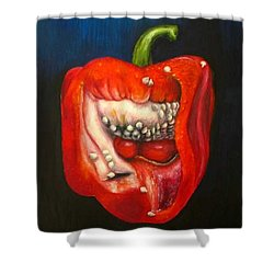 Red Pepper Oil Painting Shower Curtain by Natalja Picugina