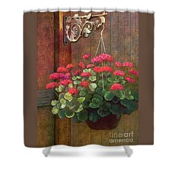 Shower Curtain featuring the painting Red Petals Geraniums by Nancy Lee Moran