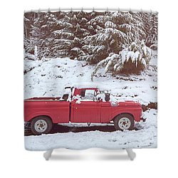 Shower Curtain featuring the photograph Red Pickup Truck On The Snow by Eduardo Jose Accorinti