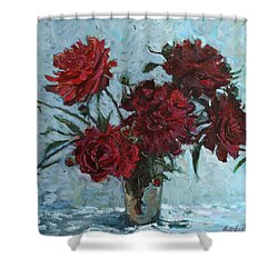 Red Piones Shower Curtain