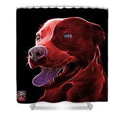 Red Pit Bull Fractal Pop Art - 7773 - F - Bb Shower Curtain