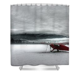 Red Plane In A Monochrome World Shower Curtain