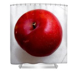 Red Plum On A White Cloth Shower Curtain