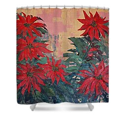 Red Poinsettias By George Wood Shower Curtain