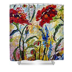 Red Poppies And Bees Provence Shower Curtain by Ginette Callaway