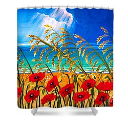 Red Poppies And Sea Oats By The Sea Shower Curtain by Patricia L Davidson