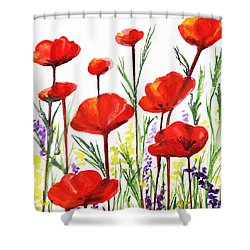 Shower Curtain featuring the painting Red Poppies Art By Irina Sztukowski by Irina Sztukowski
