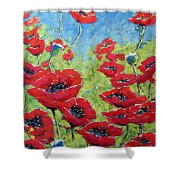 Red Poppies By Prankearts Shower Curtain by Richard T Pranke