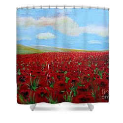 Red Poppies In Remembrance Shower Curtain