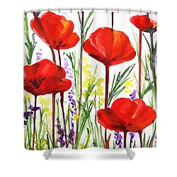 Shower Curtain featuring the painting Red Poppies Watercolor By Irina Sztukowski by Irina Sztukowski