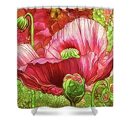 Shower Curtain featuring the mixed media Red Poppy Garden by Carol Cavalaris