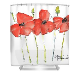 Red Poppy Play Shower Curtain