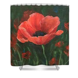 Red Poppy Shower Curtain by Torrie Smiley